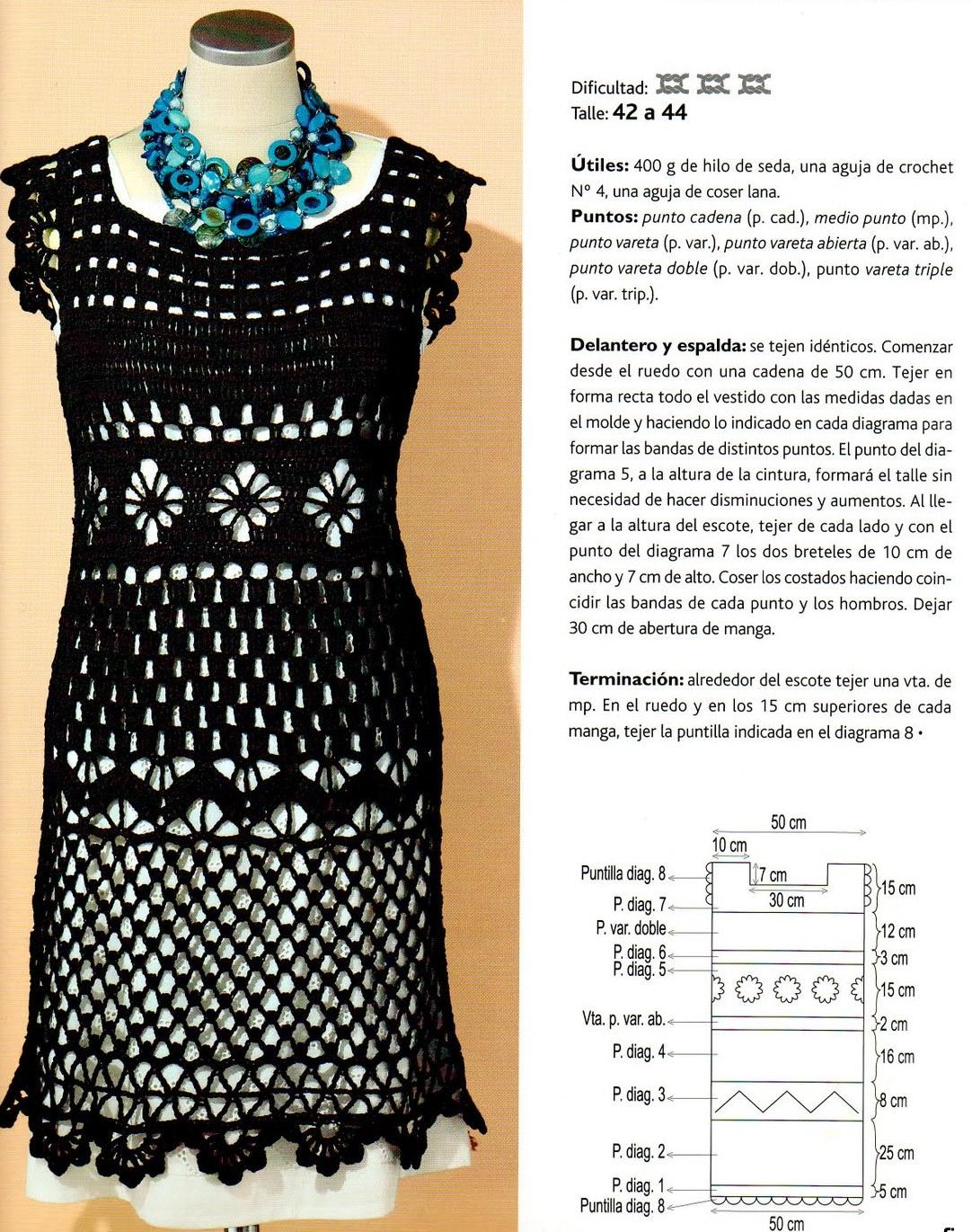 вязаные платья крючком со схемами