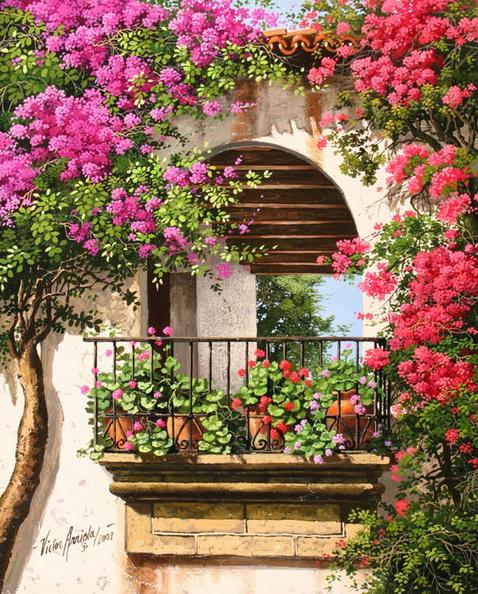 Красивый балкон цветы 15