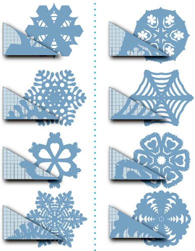 Снежинки из бумаги: схемы,